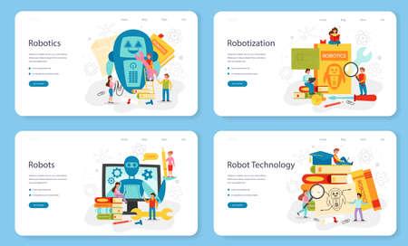 Robotics school subject web banner or landing page set. Robot engineering Vektorgrafik