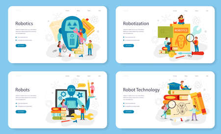 Robotics school subject web banner or landing page set. Robot engineering Vektoros illusztráció