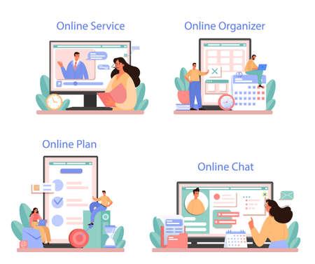 Businessperson personal assistant online service or platform set
