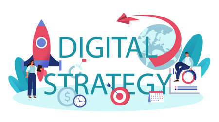 Digital strategy typographic header. Commercial brand advertising Vetores