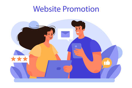Website promotion concept. Online business promotion with a commercial