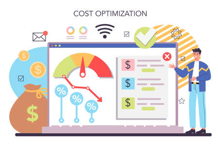 Cost optimization online service or platform. Idea of financial Vector Illustration