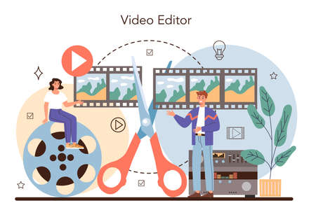 Videographer concept. Video production, filming and editing.