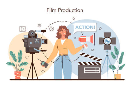 Film director concept. Movie director leading a filming process.