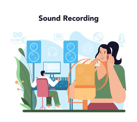Audio engineer concept. Music production industry, sound recording