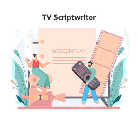 Scriptwriter concept. Person create a screenplay for movie. Vektorgrafik