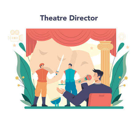 Movie director concept. Film director leading a filming process Vetores