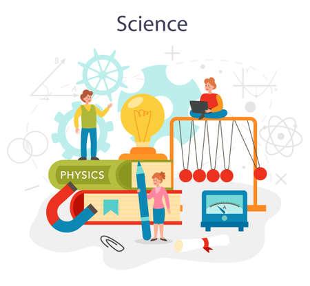 Physics school subject concept. Scientist explore electricity