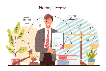 Notary license concept. Professional lawyer signing and legalizing paper Vektorové ilustrace