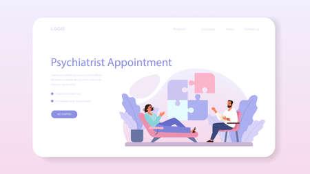 Psychiatrist web banner or landing page. Mental health diagnostic.