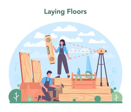 Flooring installer. Professional parquet laying, wooden or tile floor