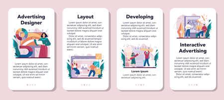 Advert designer or illustrator mobile application banner set