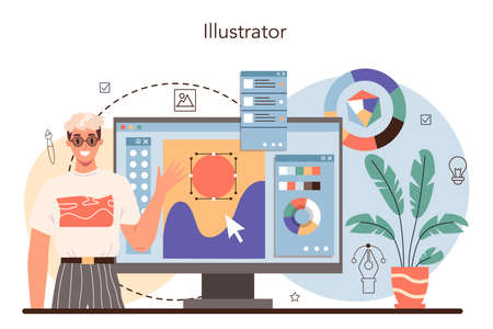 Illustration designer. Artist drawing picture for book and magazines Vecteurs