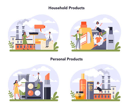 Household and personal products industry sector of the economy set.