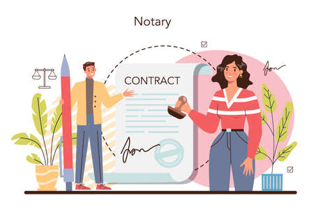 Notary service concept. Professional lawyer signing and legalizing paper
