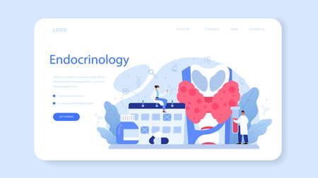 Endocrinologist web banner or landing page. Thyroid examination. Vektorgrafik