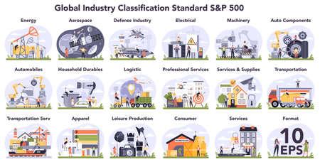 Global industry classification standard set. Financial market categorization