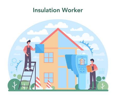 Insulation concept. Thermal or acoustic insulation. Worker putting Vecteurs
