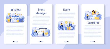 PR event mobile application banner set. Celebration or meeting organization Vecteurs
