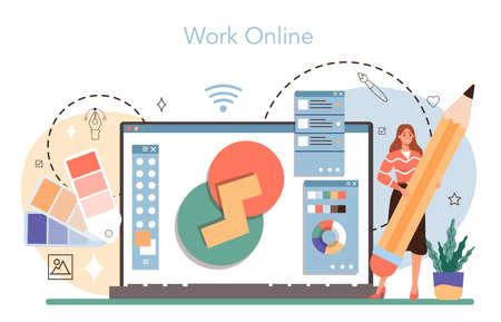 Designer online service or platform. Advert designer or graphic illustrator Vecteurs