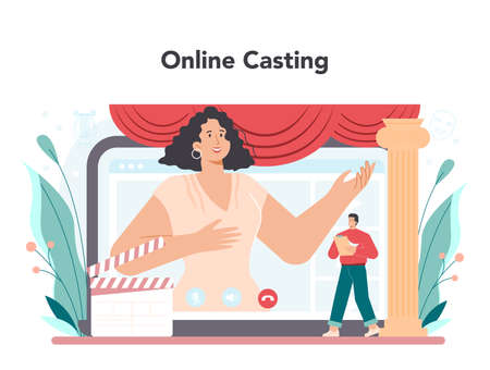 Actor and actress online service or platform. Theatrical performer Vector Illustration