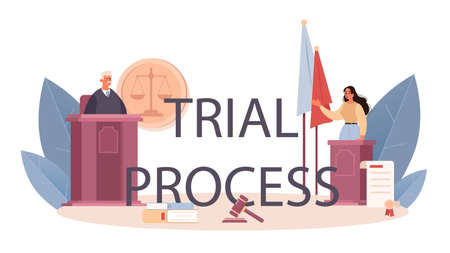 Trial process typographic header. Court worker stand for justice and law Vektorové ilustrace