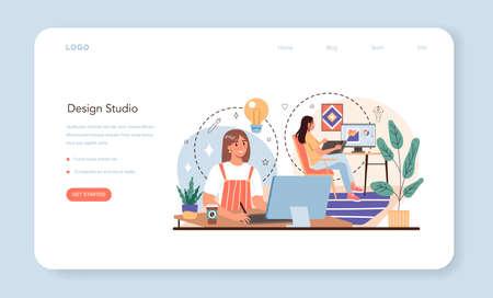 Design studio web banner or landing page. Advert designer or graphic illustrator