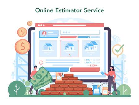 Estimator, financial consultant online service or platform Vektoros illusztráció