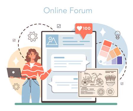 Industrial designer online service or platform. Artist creating Vecteurs