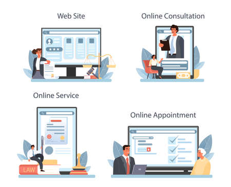 Notary service online service or platform set. Lawyer signing and legalizing