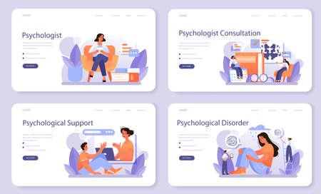 Psychologist web banner or landing page set. Mental health diagnostic