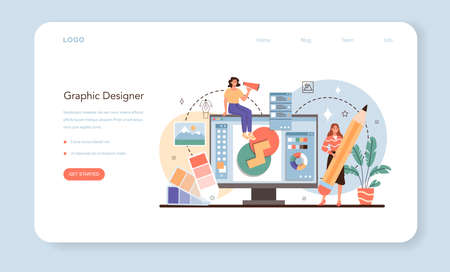 Designer web banner or landing page. Advert designer or graphic illustrator Vecteurs