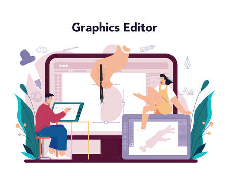 Illustration designer online service or platform. Artist drawing picture