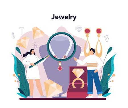 Jeweler concept. Goldsmith examining and faceting diamond