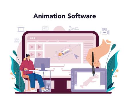Motion or video designer online service or platform. Artist create Vecteurs