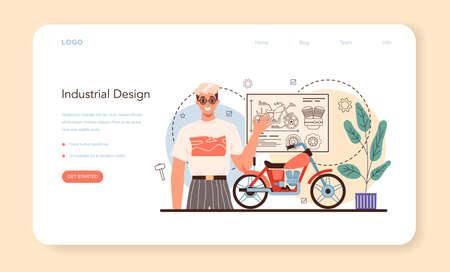 Industrial designer web banner or landing page. Artist creating