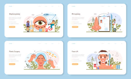 Plastic surgery web banner or landing page set. Idea of modern face aesthetic