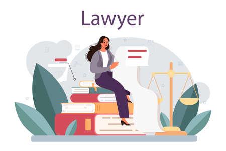 Lawyer concept. Law advisor or consultant, advocate defending Vektoros illusztráció