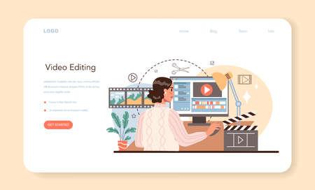 Videographer web banner or landing page. Video production Ilustração Vetorial