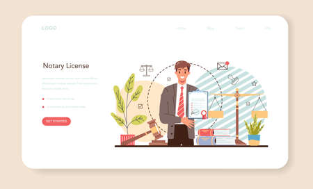 Notary license web banner or landing page. Professional lawyer signing