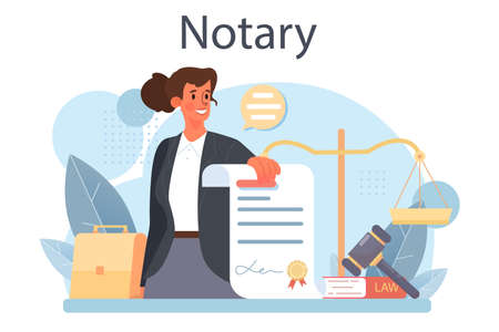 Notary service concept. Professional lawyer signing and legalizing Vektorové ilustrace
