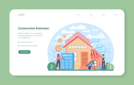 Estimator, financial consultant web banner or landing page