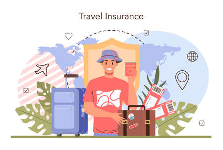 Traveling abroad concept. Visa application approving and insurance