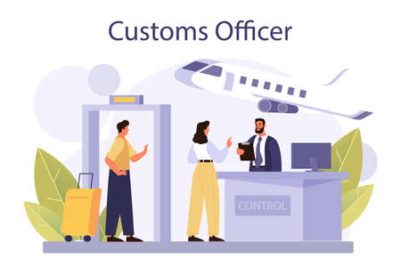 Customs officer concept. Passport control at the airport. Metal detector Vektorové ilustrace