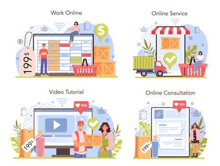 Commercial activities online service or platform set. Entrepreneur putting