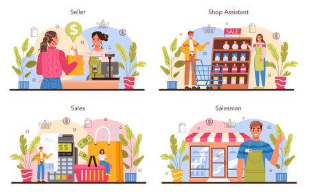Seller concept set. Professional worker in the supermarket, shop