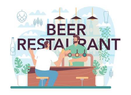 Beer restaurant typographic header. Glass bottle and vintage mug