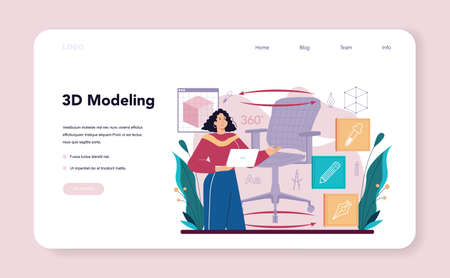 Industrial designer web banner or landing page. Artist creating modern Vecteurs
