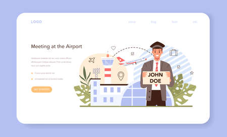 Transfer service web banner or landing page. Airport pickup.
