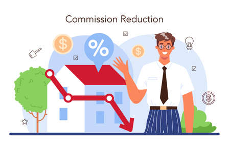 Real estate industry. Low comission for real estate agent work 일러스트